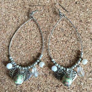 Silver teardrop charm earrings
